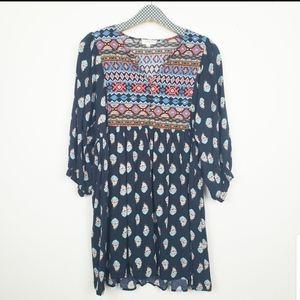 Umgee Boho Dark Multi Print Flowy Dress Sz Medium
